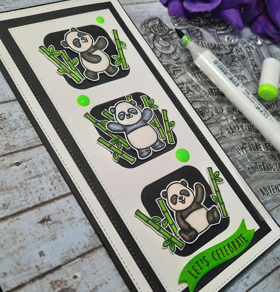 Slim Line Card by Jude Creates using Heffy Doodle Pandtastic Painter stamps