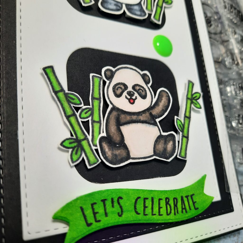 Panda from pandtastic painter set by Heffy Doodle, Let's Celebrate Sentiment from Heffy Doodle