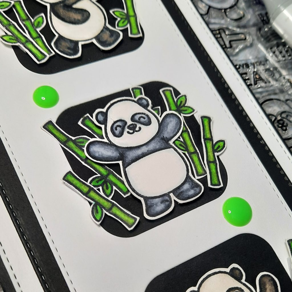 Panda in a bamboo patch from Heffy Doodle Pandtastic Painter stamp set